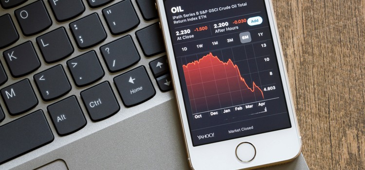 Phone screen showing investment market movements